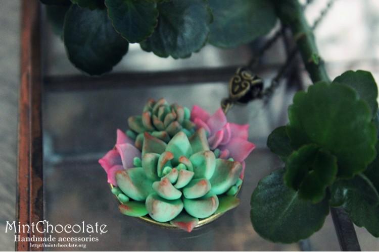 Pink Echeveria pendant
