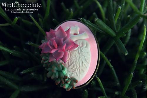 Pink heart echeveria brooch