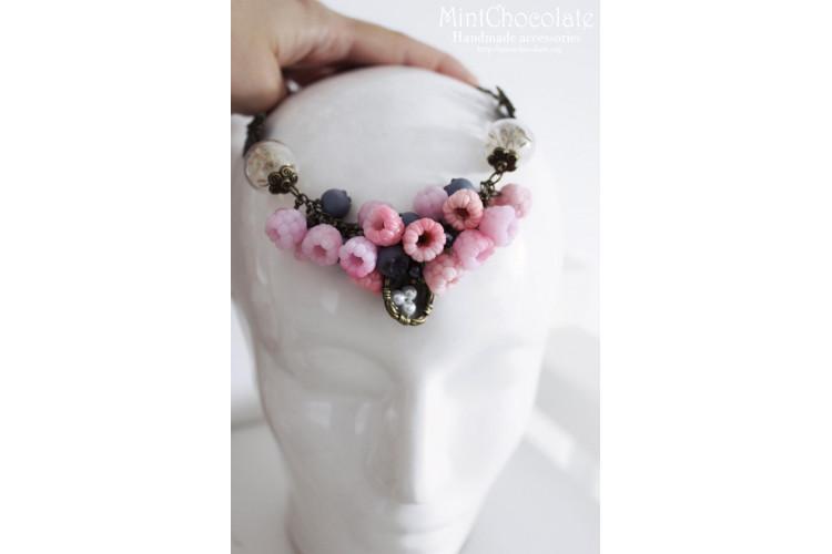 Raspberry snow fairy necklace