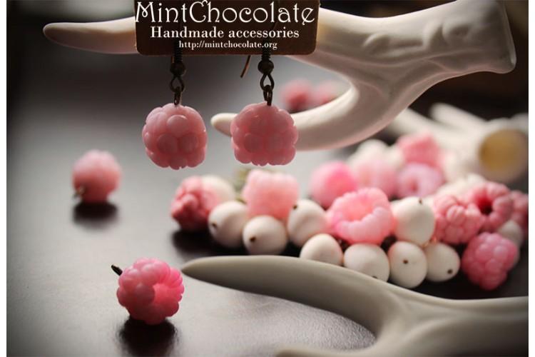 Light pink raspberry earrings