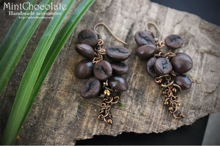 Coffee beans earrings 1