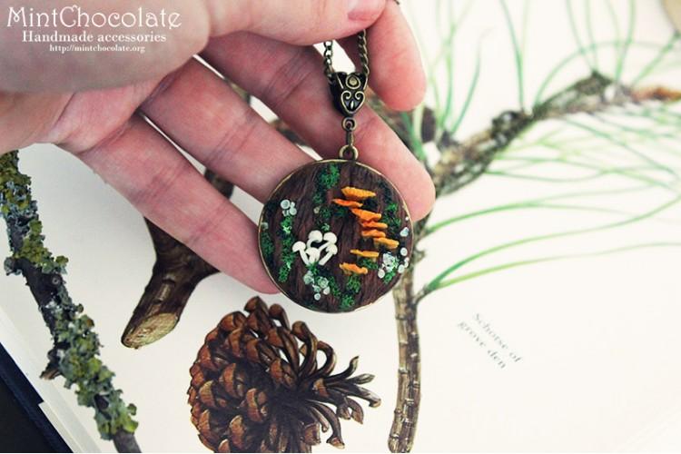 Moth tree bark pendant