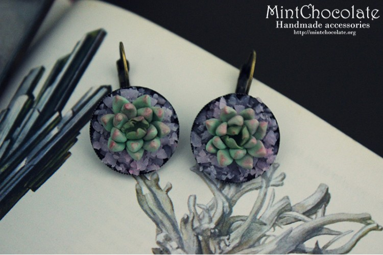 Quartz&plants earrings