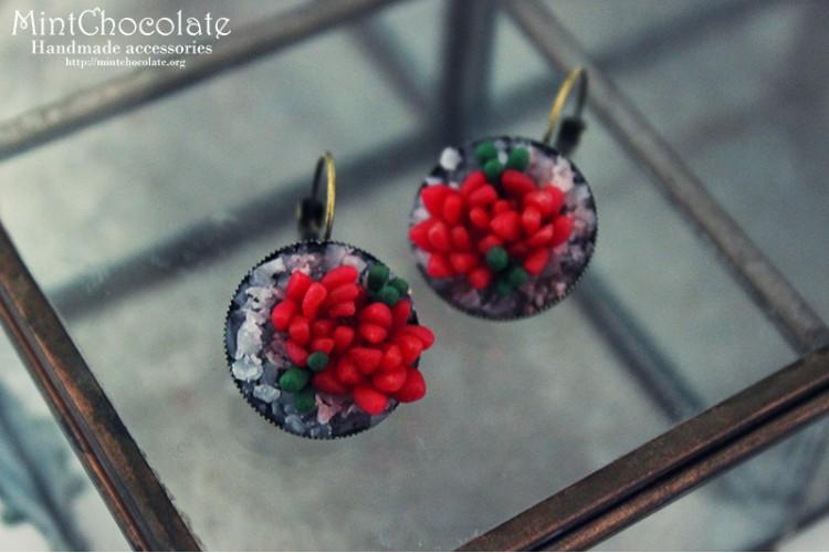 Red echeveria earrings