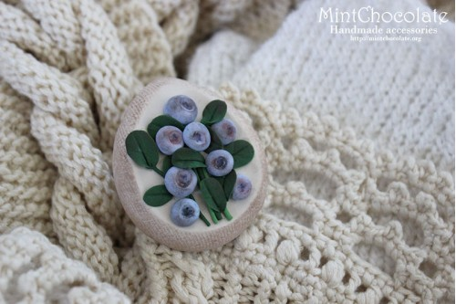 Blueberry&linen brooch