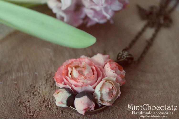 Pink peony pendant