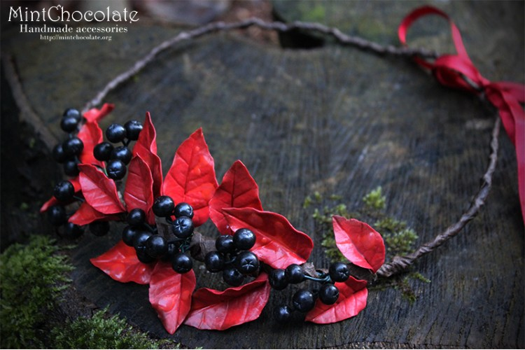 Black rowanberry hairband
