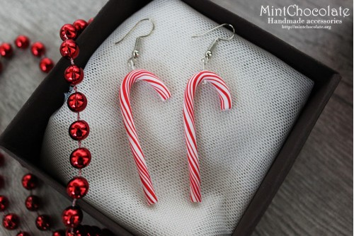 Peppermint cane earrings 1