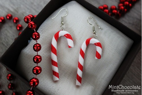 Peppermint cane earrings 2