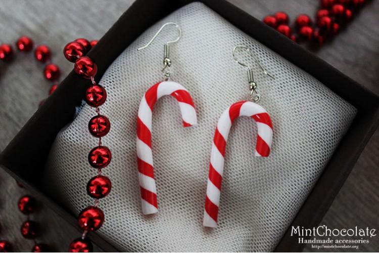 Peppermint cane earrings 2