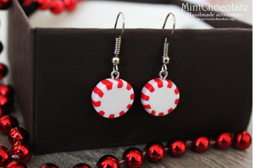 Round peppermint earrings
