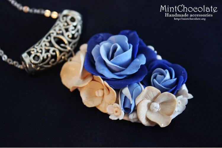 Blue floral pendant