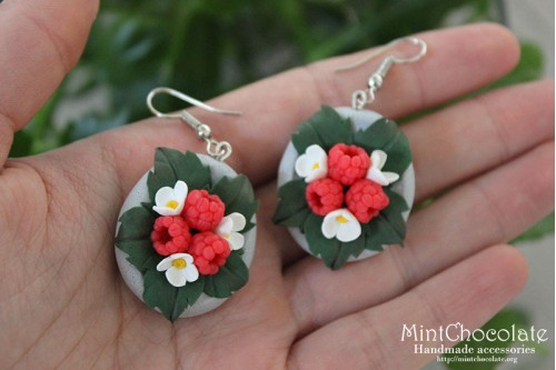 Raspberry bloom earrings