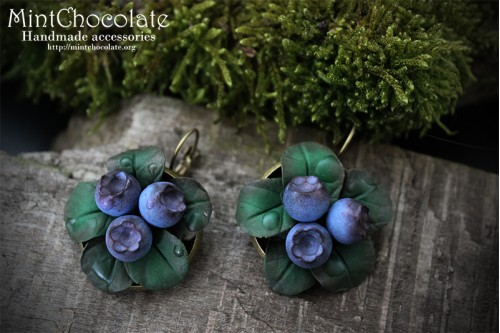 Forest blueberry earrings