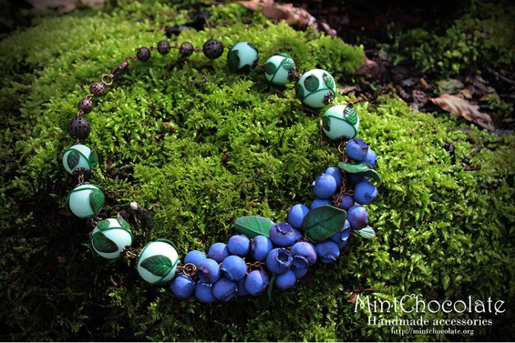 Wild blueberry necklace