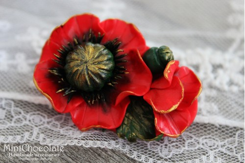 Vintage poppy brooch