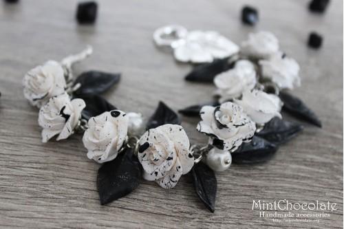 Black&White roses bracelet