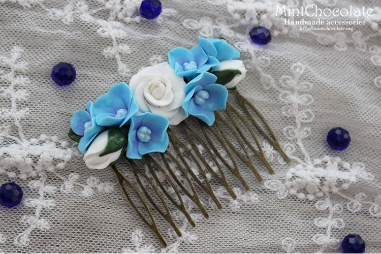 Blue wedding comb