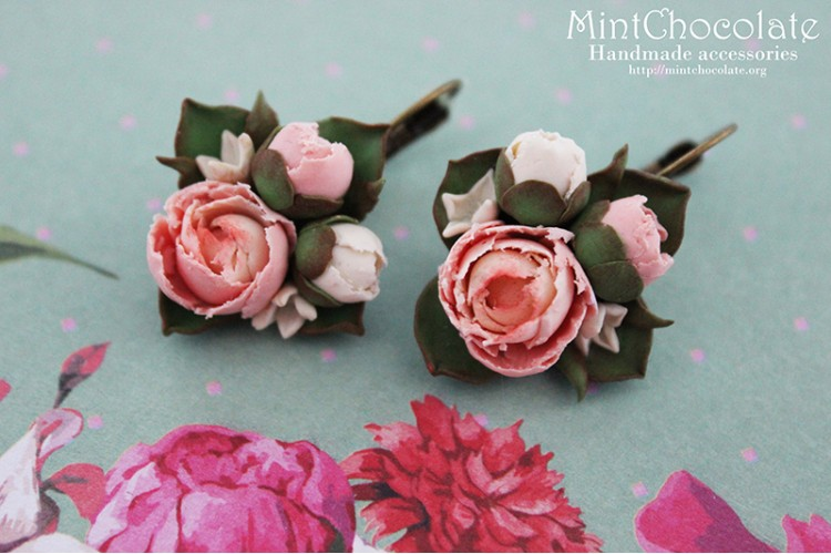 Peony bouquets earrings