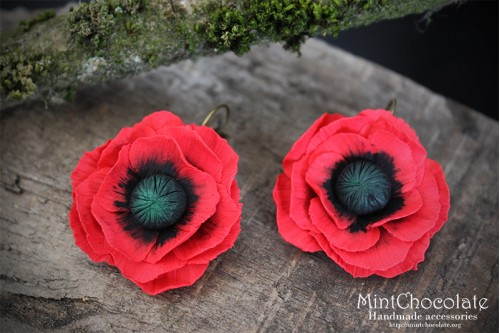 Red poppy earrings