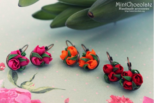 Tulip bouquets earrings
