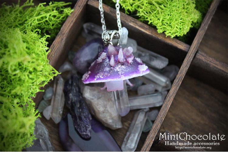 Purple quartz mushroom necklace