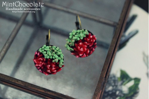 Ruby Echeveria earrings