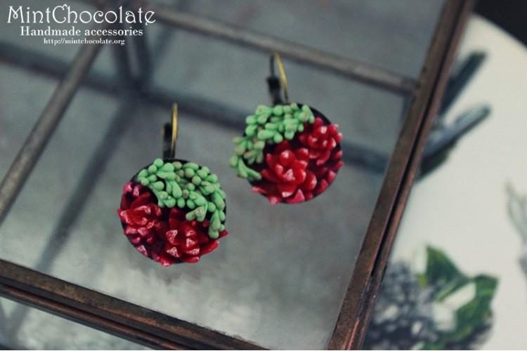 Ruby Echeveria earrings
